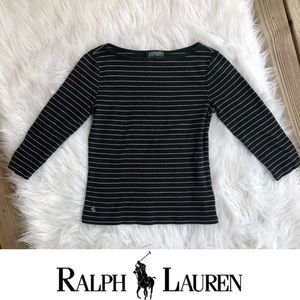 Ralph Lauren Black and White Long Sleeve Shirt